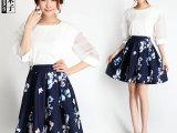 2014夏装新款 韩版绣花中袖提花上衣 数码印花短裙两件套301