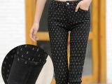冬季小脚裤 女式保暖休闲裤 加厚加绒提臀紧身显瘦牛仔打底裤批发