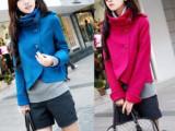 厂家直销 秋冬新款女装韩版时尚立领斗篷呢子大衣 加厚毛呢外套