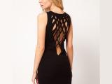 设计感后背网状交叉编织黑色背心裙 连衣裙 6码全 包邮