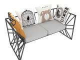 工业风美式沙发服装店创意沙发布艺沙发复古铁艺个性沙发茶几