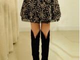 2013春装半身裙 新款女装 时尚韩版优质豹纹花朵彩丝蕾丝短裙0