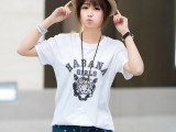 2014韩版夏装新款百搭虎头印花宽松长款短袖女圆领修身时尚T恤