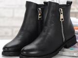 2014秋冬新款单靴英伦牛皮马丁靴低方跟平底真皮侧拉链短靴女靴子