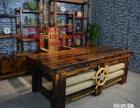 烟台市老船木办公桌家具茶桌椅子客厅沙发茶几茶台实木会议大板桌