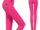 春季新款口袋糖果色小脚裤梭织弹性紧身显瘦大码铅笔裤高腰打底裤