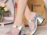 2014新款真皮网纱布舒适拖鞋 高跟粗跟拼色女鞋子 微信一件代发
