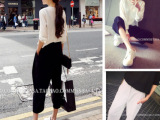 厂家直销2015新品人手一条韩版显瘦宽松阔腿裤七分裤女一件代发