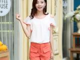 2014夏新款 韩版女装露肩雪纺休闲套装 短袖短裤两件套套装