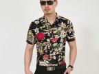2015年夏季男装男式短袖免烫衬衫花朵图案男士修身衬衣厂家批发
