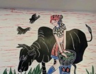 墙体彩绘,壁画定做,餐饮娱乐场所主题彩绘,现场作画