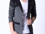 2014春款V领韩版西装衫纯棉修身时尚毛衣外套 男装针织衫线衫