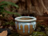 韩国多肉流釉花盆 创意复古做旧多肉陶瓷花盆 蓝釉款