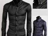 外贸EBAY热卖 新款 精品 暗纹菱格 男士长袖衬衫
