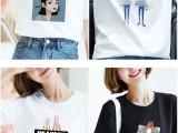 棉质短袖t恤 批发地摊衣服女装圆领 短袖t恤印花T恤 便宜T