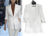 2015夏装新款女装 时尚百搭七分袖条纹小西装 中长款修身西服外
