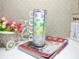 zakka杂货 牛奶卡通陶瓷杯 热销叠叠水杯 创意小杯子 带铁架
