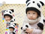 宝宝儿童帽子熊猫帽子围巾2件套 批发
