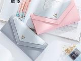 威臣新款女士长款钱包日韩版时尚信封搭扣学