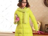 2013冬新款特卖兔绒围巾款修身娃娃衫亮面韩版女中长款羽绒服加厚