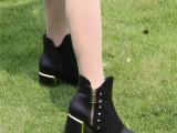 欧洲站尖头铆钉短靴英伦学院春秋方跟马丁靴欧美复古学生靴女裸靴