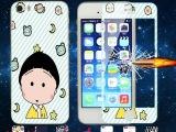 苹果5彩色钢化膜 iPhone5s手机前钢化玻璃彩膜防爆卡通图案
