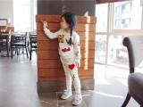 春秋新款女童运动套装两件套 印花圆领长袖儿童卫衣批发