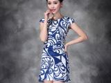 2014 夏装欧美女装品牌青花瓷印花短新款短 袖连衣裙