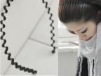 日韩国明星最爱男女通用波浪形发箍头箍发饰-潮黑铁发箍批发