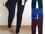 欧美原单成人女裤批发 五色纯棉高弹小脚裤 山东工厂现货QS092