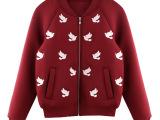 现货2014秋新绣花长袖纯色绣花和平鸽宽松卫衣短外套0290