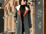 秋冬新款女装 韩版女式呢子大衣 时尚女式外套 中长款呢子大衣女