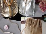 金色银色拉链链子小桶包 日本原单包/日单毛毛小桶包