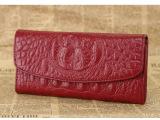 代理一件代发 真牛皮鳄鱼纹长款三折钱包 男女通用 高档手拿钱夹
