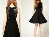 2014赫本经典小黑裙拼接经典大气收腰蕾丝收腰显瘦欧美连衣裙