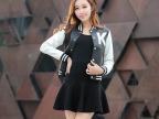 2015春装新款皮衣女士 韩版字母拼接pu皮立领女式外套 厂家批发