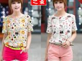 独特05 夏季韩版女士高端雪纺衫时尚拼接大码女短袖薄款特价批发