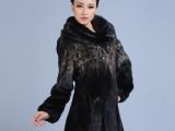 dngr冬季新款大衣 女 中长款黑色印花整貂皮外套
