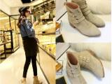 新品秋冬季女短靴真皮英伦春秋短筒单靴尖头及裸靴粗跟低跟马丁靴