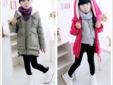 2014冬季新款童装 女童韩版中长款羽绒服 纯色连帽加厚童羽绒服