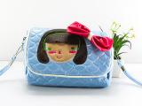 【节日礼物】菱格子PU皮斜跨包儿童零钱包手机包可爱卡通女小包