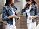 秋冬最新款韩国女装复古牛仔外套女 修身夹克斜拉链长袖短款秋装