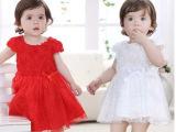 婴儿连衣裙女童宝宝红色白色网纱蓬蓬裙公主裙女孩夏季周岁礼服