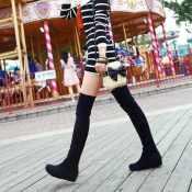 工厂新款瘦腿弹力过膝靴 长靴子 平底内增高女靴外贸大码女鞋批发