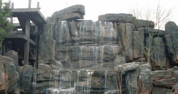 假山水池 假山瀑布艺术长廊 仿真古树 生态大门