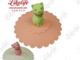 硅胶小猫杯盖 食品级卡通杯盖批发 猫咪杯盖零售 硅胶小礼品定做