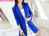 2015春装新款显瘦中长款大码小西装韩版修身长袖小西服外套女