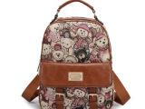 韩版品牌新款潮卡通帆布双肩包旅行包小熊书包女士双肩背包女包