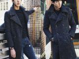 2014新款韩版男式羊毛呢料大衣中长款呢大衣羊圈圈呢风衣外套