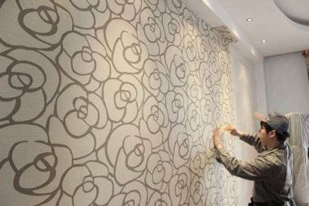 东莞万江 南城专业贴墙纸壁纸无缝墙布师傅